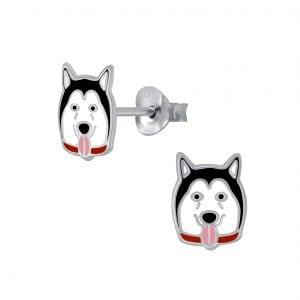 Silver Dog Stud Earrings