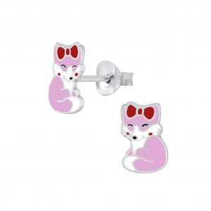 Silver Fox Stud Earrings