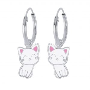 Silver Cat Charm Hoop Earrings