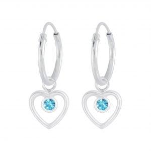 Silver Heart Crystal Charm Hoop Earrings - Aqua Bohemica