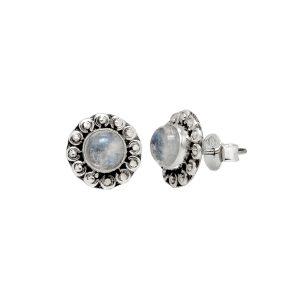 Zilveren oorstekers India, rond met natuursteen en bloem afwerking