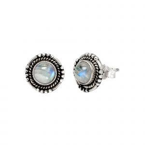 Zilveren oorstekers India, rond met natuursteen