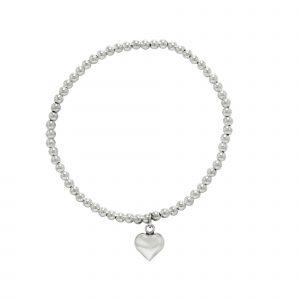 Zilveren armband met bolletjes en hart hanger