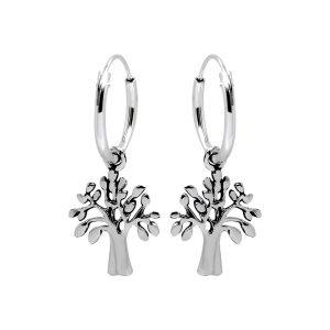 Zilveren creolen met hanger, levensboom