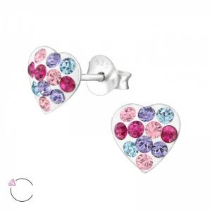 Zilveren oorstekers, hart met kleurige kristallen