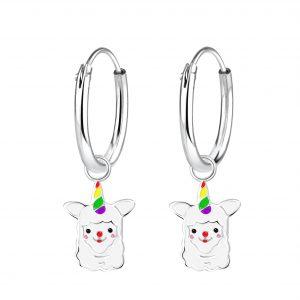 Zilveren creolen met hanger, alpaca met gekleurde hoorn