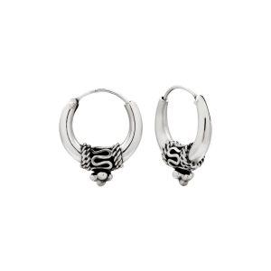 Zware zilveren Bali hoops, 18 mm