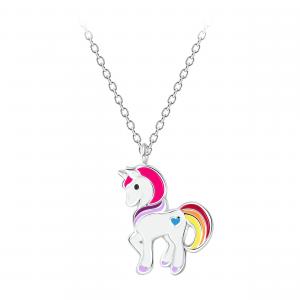Zilveren ketting met eenhoorn/unicorn