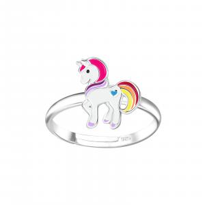 Zilveren ring met leuke eenhoorn