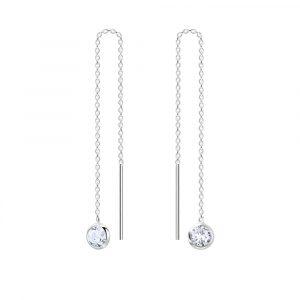 Zilveren oorstekers chain met kristal