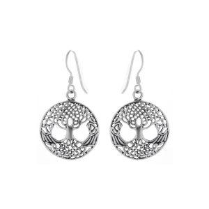 Zilveren oorhangers levensboom