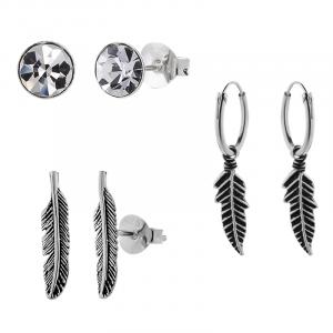Zilveren oorbellen set van 3, veren en kristal